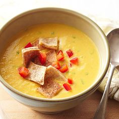 Our warm vegetarian soup recipe is a pump up version of hummus! Use your slow cooker to make this recipe full of flavor and protein. This is a great party recipe to serve your guests a healthy main dish.