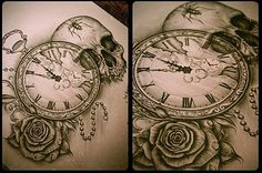 Original tattoo designs inked by the artist on paper or drawn on a computer. Tattoo Drawings, Body Art Tattoos, New Tattoos, Clock Drawings, Skull Tattoos, Piercing Tattoo, I Tattoo, Tattoo Clock, Broken Clock Tattoo