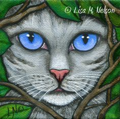 Silver Gray Tabby Cat in Garden Vines Original by ArtbyLisaMNelson
