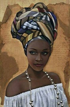 """""""African in White"""" - French Art {figurative beautiful female headdress pearls bl. - Simone Curtis - - """"African in White"""" - French Art {figurative beautiful female headdress pearls bl. Black Love Art, Black Girl Art, Art Girl, African Artwork, African Art Paintings, African Prints, African Fabric, African Beauty, African Women"""
