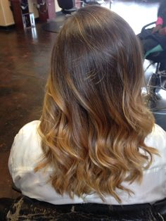 Brown ombré Balayage highlights curls style