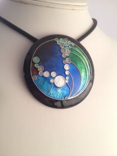 "handmade enamel pendant made with fine silver cloisonne, over 2"" diameter"