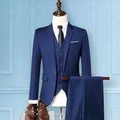 Three Pieces Business Wedding Slim Fit Evening Party Dressing Suit for Men Mens Casual Suits, Formal Suits, Men Formal, Mens Suits, Wedding Jacket, Wedding Suits, Blazer For Men Wedding, Blazer Suit, Suit Jacket