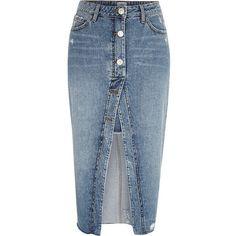 River Island Mid blue open front denim pencil skirt ($80) ❤ liked on Polyvore featuring skirts, blue, midi skirts, women, knee length denim skirt, calf length denim skirts, tall denim skirt and tall skirts