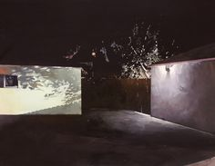 In 'Solitary Shadows', Los Angeles artist Holly Elander paints a concrete city blanketed in darkness, her streetscapes illuminated by electric light that — though painted. Concrete, Artist, Painting, Houses, Illustrations, Homes, Artists, Painting Art, Illustration