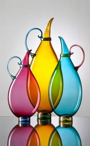 "Flat Pitchers  Description: 3 sizes allow for endless compositions of color and form. Available in 9 colors.heights: Small: 13"" Medium: 16"" Tall: 19""Dimensions:  H:19.00 x W:9.00 x D:3.00 Inches"