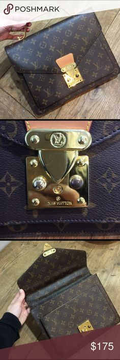 Louis Vuitton R E P Price reflects bought on posh but reposhing does not fit my style. Would fit iPad very cute. A really GOOD R E P. Priced to sell MAKE OFFERS will take the best one great condition slight scratching on front gold metal buckle Louis Vuitton Bags