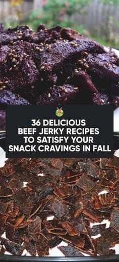 36 Delicious Beef Jerky Recipes to Satisfy Your Snack Cravings - Meat Recipes Jerkey Recipes, Venison Jerky, Beef Jerky Marinade, Smoked Beef Jerky, Bacon Jerky, Brisket, Beef Jerkey, Homemade Beef Jerky, Venison Recipes