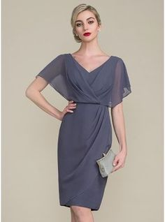 e35a50db6e2 Sheath Column V-neck Knee-Length Chiffon Mother of the Bride Dress With  Ruffle (008107655)