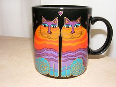 Laurel Burch Rainbow Cats Mug. Colorful cats on black mug. Made in Japan. EUC, have this