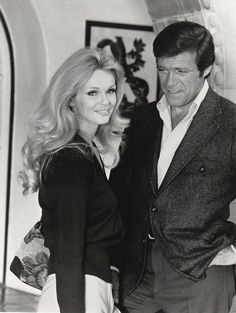 """Chris with actress/wife Lynda Day George filming British mystery """"A Beautiful Killing"""", 1974. Lynda Day George, The Rat Patrol, Christopher George, Fight The Good Fight, Thing 1, All That Matters, Mission Impossible, Famous Couples, Live Action"""