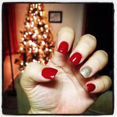 Festive red and gold nails for the holidays! I love Christmas!