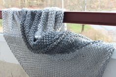 Simple and quick knit afghan, seed stitch on huge (15 mm) needles