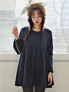 Korean Floral Puff Long Sleeves Empire Waist Loose Babydoll Dress Mini Dress