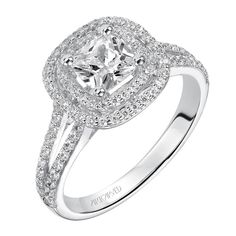 Cushion cut engagement ring with double diamond halo and split diamond band. Timeless Engagement Ring, Split Shank Engagement Rings, Engagement Ring Photos, Cushion Cut Engagement Ring, Perfect Engagement Ring, Diamond Engagement Rings, Wedding Engagement, Bridal Rings, Wedding Ring Bands