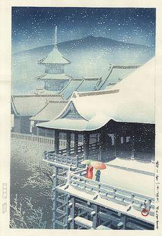 Hasui Kawase - Neige de printemps (Temple Kiyomizu)
