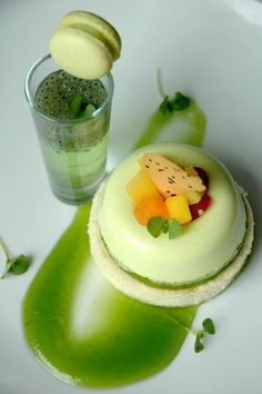 Tropical fruit, over basil gelee and coconut chiffon, sit on basil fluid gel...note : start with pandan-basil seed soda shot and coconut-pandan macaroon first.