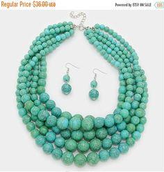 Multi strands turquoise necklace, matching earrings bonus, chunky, five strands, handmade gift idea.