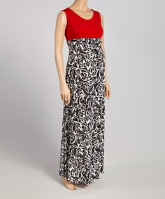 A graceful, floor-skimming cut sways with each stride, while stretch-enhanced fabric glides comfortably over growing curves. Cute Maternity Dresses, Maternity Maxi, Curves, Contrast, Red Black, Skirts, Fabric, Fashion, Moda