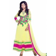 Shop Now - http://www.valehri.com/yellow-designer-anarkali-style-shilpa-shetty-salwar-suit-1363 Price - 4,159 INR Rs