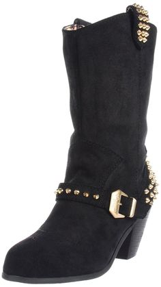 Betsey Johnson Yendell Black Suede Gold Studded Western Boot Bootie 9 5 NWB $225 | eBay