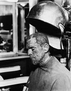 Boris Karloff in prep during shooting for The Mummy.