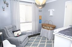 Gray Hot Air Balloon Themed Nursery