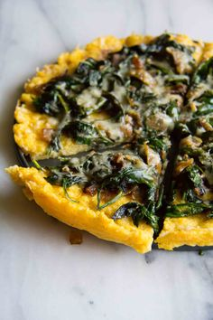 Polenta Tart with Asiago Spinach. The PERFECT side dish for dinner. Polenta Tart with Asiago Spinach. Vegetarian Recipes, Cooking Recipes, Healthy Recipes, Vegan Polenta Recipes, Good Food, Yummy Food, Food And Drink, Tasty, Favorite Recipes