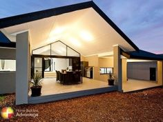 Pitched roof alfresco with stacking sliding doors and high fixed glass window. Modern Deck, House Deck, House Roof, Building A Deck, Building Design, Raked Ceiling, Rural House, New Home Builders, Sims House