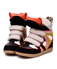 High Top Contrast Concealed Flatform Sneaker with Velcro Strap and Orange Tongue