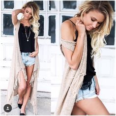 **** Stitch Fix 2017 Summer inspiration! Love this laid back, but sexy summer style! Distressed denim, black lace top and long cardi makes for a great evening summer outfit! Get styles just like these from Stitch Fix today! Simply click the picture to get started, fill out your style profile and request items just like these. Who doesn't want their own personal stylist to take the work out of shopping? It's like Christmas every month! Try it today!! #sponsored #StitchFix