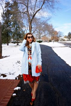 Red Full Midi Dress, Blue Coat, Red pumps (Winter party outfit)