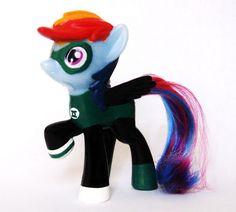 Green Lantern OOAK Custom figure Super hero MLP Rainbow Dash My Little Pony  #Hasbro