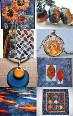 Hot Orange and Cool Blue - Quiltsy Team Treasury Blitz -- Pinned with TreasuryPin.com #quiltsyteam