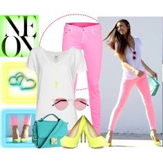 Neon, created by bonnaroosky on Polyvore