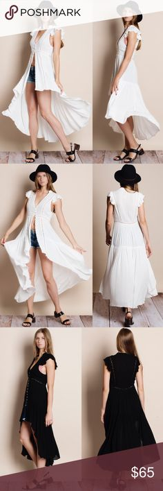 Spotted while shopping on Poshmark: NBF ❤️ Flutter Sleeve Button Up Maxi Top / Dress! #poshmark #fashion #shopping #style #Bare Anthology #Tops