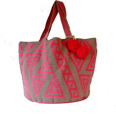 Crochet Tote Bag in Grey and Neon Pink with Pom-Pom