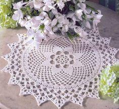 toalhas toalhinhas branco flores mesa croche com receita