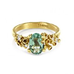 Ruth Tomlinson Ring | Cluster Oval Green Tourmaline Diamond Gold Ring