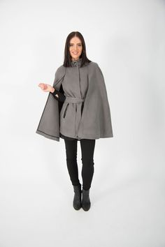 The Cape trend is here and the Stylish Midi Cape by Ice Express defines the best of the season. In a firm and cosy fabric this cape features button trims and a nehru style collar. Perfect for evenings out over a dress it is also a stunning work wear Online Shopping, Cape Coat, Work Wear, Winter Outfits, Winter Fashion, Normcore, Ice, Stylish, Womens Fashion