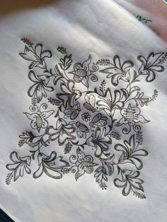 Different flowers... Rangoli Kolam Designs, Rangoli Designs With Dots, Kolam Rangoli, Beautiful Rangoli Designs, Zardozi Embroidery, Embroidery Motifs, Gold Embroidery, Embroidery Designs, Indian Rangoli