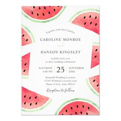 Summer Watermelon Elegant Modern Beach Wedding Invitations Template. Feature beautiful watercolor watermelon slices and elegant text you can customize easily. Great for inviting your guests to your wedding celebration. Great for all wedding parties, garden, tropical, beach, destination, Hawaii, Florida, summer etc. First Birthday Invitations, Beach Wedding Invitations, Birthday Invitation Templates, Invites, Indoor Wedding, Wedding Dj, Wedding Parties, Wedding Cards, Summer Wedding