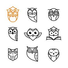Owl outline icons collection vector art illustration