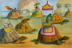 "by Kate Samworth acrylic inks, ""Turtle Race"""