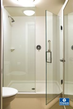 Frameless panel/door with channel and wall hinge system. Features large door in inch clear glass. Frameless Shower Enclosures, Frameless Shower Doors, Bathroom Shower Doors, Laundry In Bathroom, Bathroom Ideas, Large Shower, Glass Shower, Shower Surround, Panel Doors