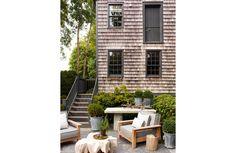 S.R. Gambrel Outdoor Spaces, Outdoor Living, Outdoor Decor, Outdoor Furniture, Cedar Shake Siding, Nantucket Cottage, Harbor House, Gambrel, Painting Trim