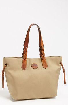 $139, Brown Canvas Tote Bag: Dooney