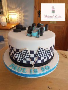 Formula one themed birthday cake 70th Birthday Cake, Novelty Birthday Cakes, Birthday Cakes For Men, Themed Birthday Cakes, Themed Cakes, Beehive Cupcakes, Ferrari Cake, Baby Girl Birthday Dress, Wedding Cake Inspiration