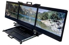 The best ever technology is here. Rack mount Triple monitor console, keyboard, high resolution and many more features. Clever Gadgets, High Tech Gadgets, Diy Electronics, Electronics Projects, Computer Case, Gaming Computer, Computer Technology, Technology Gadgets, Spy Equipment