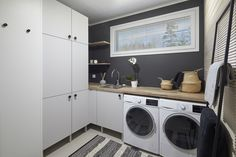 Stacked Washer Dryer, Washer And Dryer, Bathroom Modern, Home Projects, Washing Machine, Scandinavian, Home Appliances, House, House Appliances